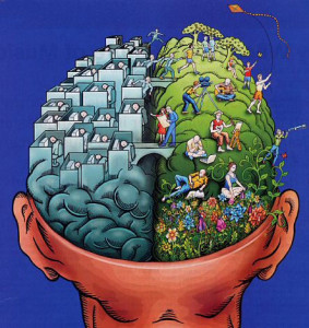 left brain right brain 283x300 The Power of Ideas: Positive Thinking Produces Positive Results